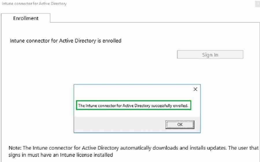 Configure -  Intune Connector for Active Directory