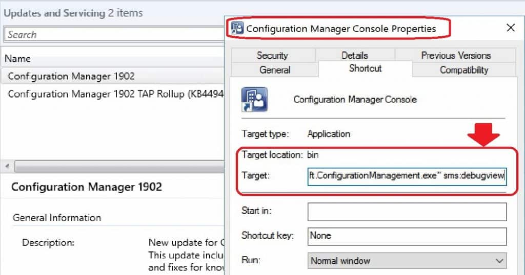 "SCCM Console Tips Add ""sms:debugview"" value to SCCM Console Shortcut"
