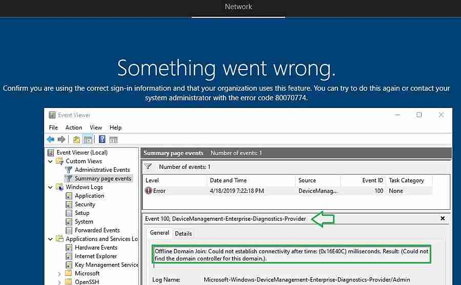 Windows Autopilot error 80070774 -Windows Autopilot Hybrid Azure AD
