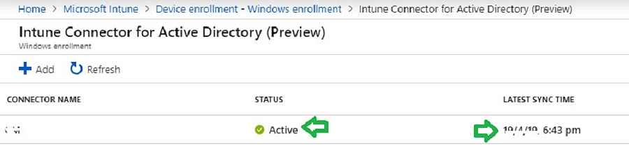 Intune AD connector status - Windows Autopilot Hybrid Azure AD Join