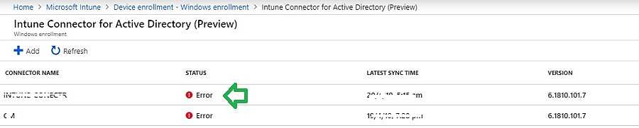 Intune AD connector status error - Windows Autopilot Hybrid Azure AD Join