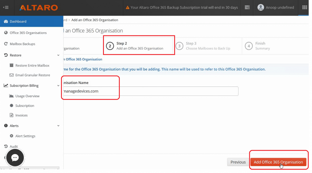 ADD Office 365 Subscription -  Altaro Office365 Backup Guide