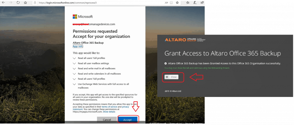 Grant Access - Altaro Office365 Backup Guide
