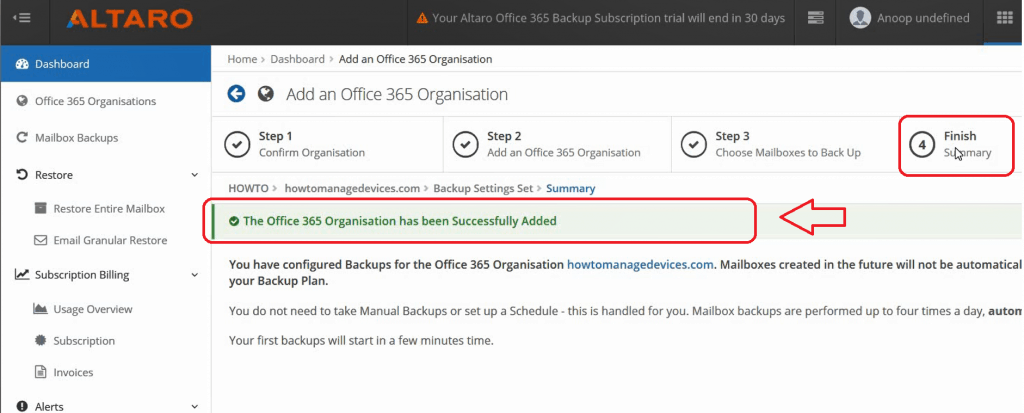 Altaro Office365 Backup Guide - Completed the backup