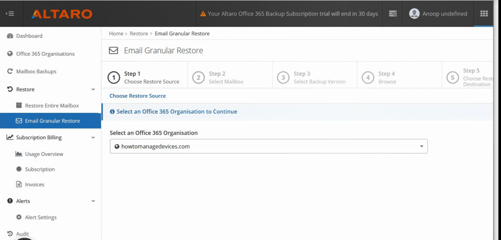 Restore Options - Restore Microsoft Office 365 mailboxes