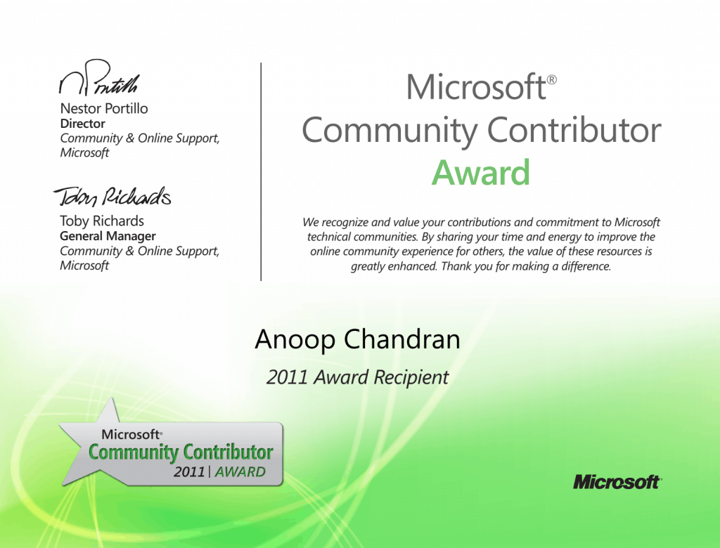 First Ever Award 2011 - Microsoft Community Contributor
