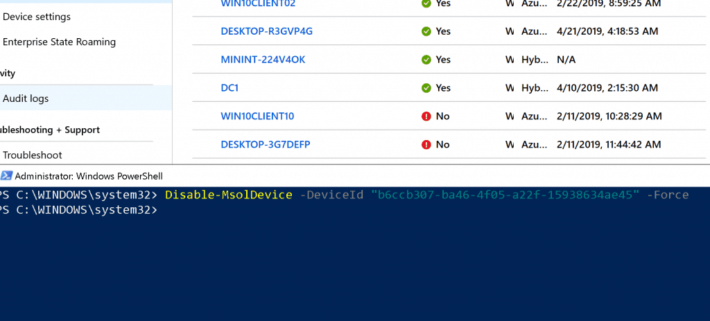 Disable the Azure AD Device object which is stale - Azure AD Device Cleanup