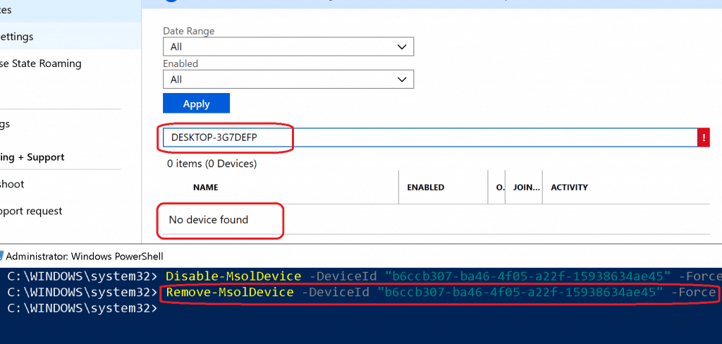 Remove-MsolDevice to delete Azure AD AD Device -  Azure AD Device Cleanup