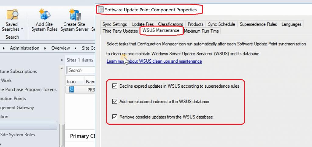 SCCM 1906 New Features - WSUS Maintenance