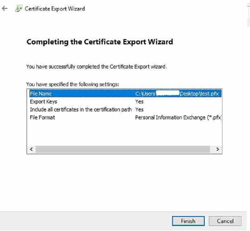 Certificate export summary