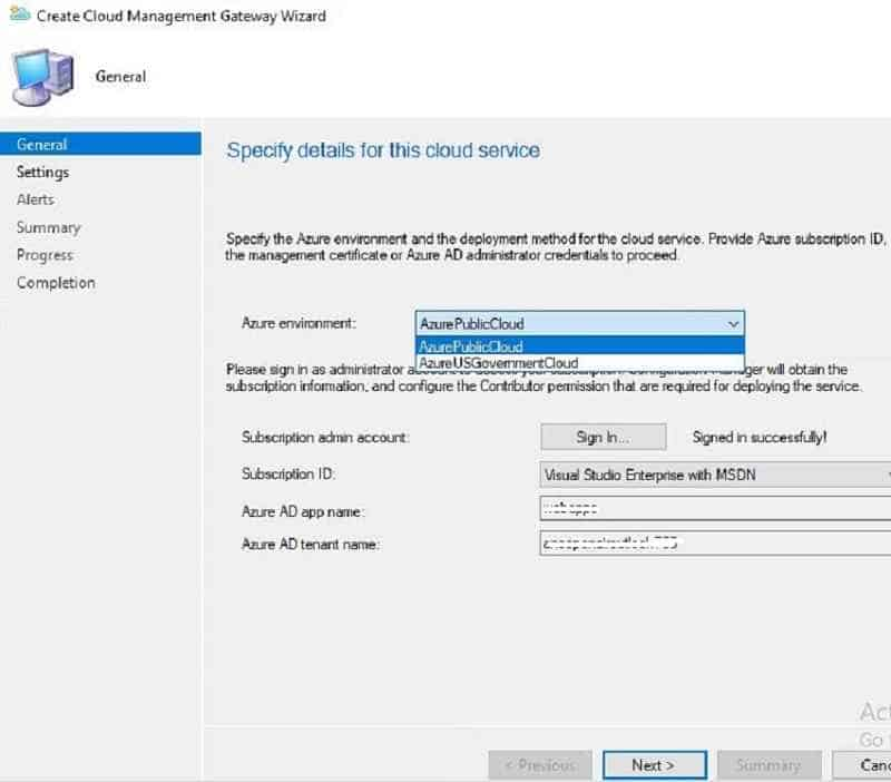 Azure environment Azure Public Cloud - New SCCM CMG Setup Guide