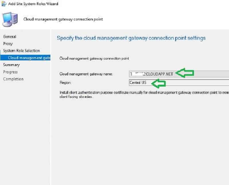 Cloud Management gateway and region