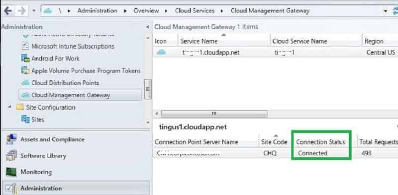 Cloud Management gateway connection status