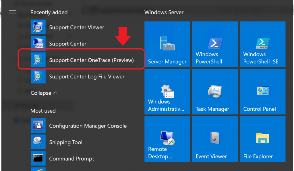 SCCM Onetrace Log Reader tool is part of Support Center toolkit - Support Center OneTrace (Preview)