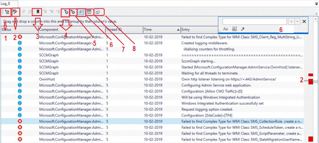 SCCM Onetrace Log file Reader part of Support Center - Log file options
