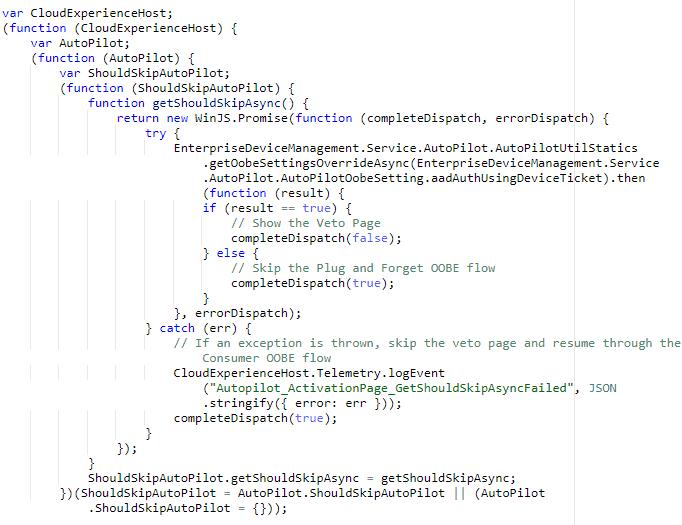 autoPilot.js - client code -  Windows Autopilot In-Depth Processes