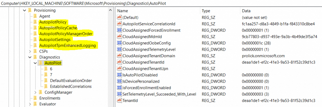 Windows 10 1903 - Autopilot regsitry - Windows Autopilot In-Depth Processes