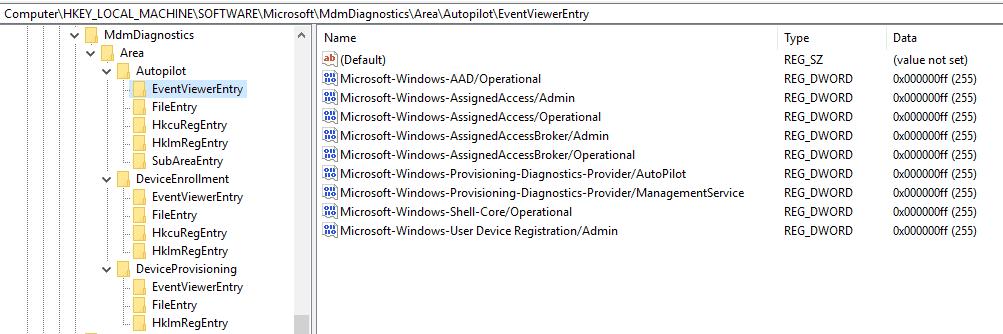 MDMDiagnostics Registry -  Windows Autopilot In-Depth Processes