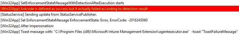 Intune Management Extension (IME) - Application was not detected