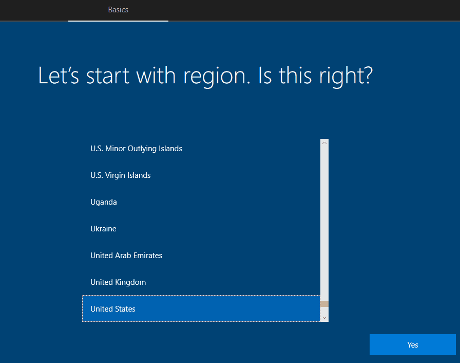 Device OOBE Screen Region - Window Autopilot WhiteGlove