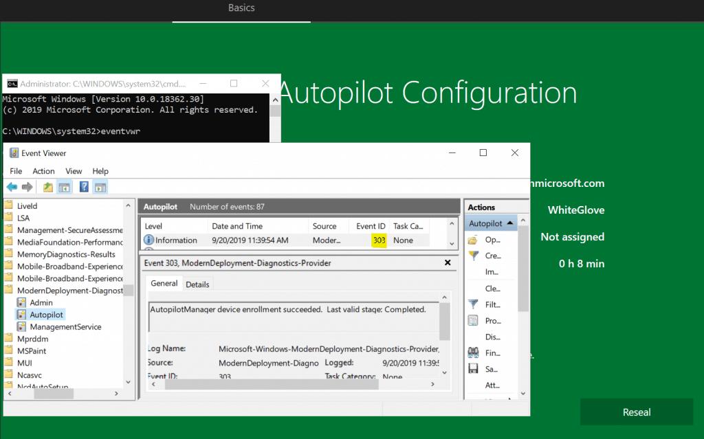 Windows Autopilot WhiteGlove - Event ID 303 success - Window Autopilot WhiteGlove