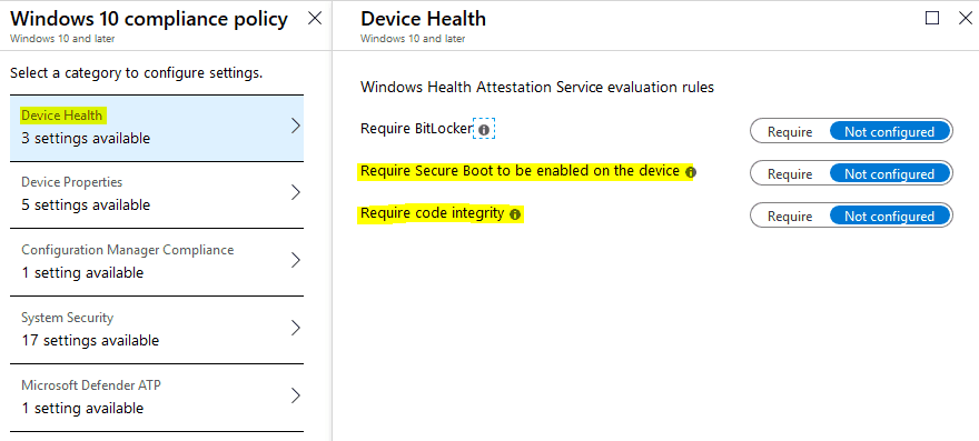 DHA - Intune Compliance Policy - Intune Device Health Attestation