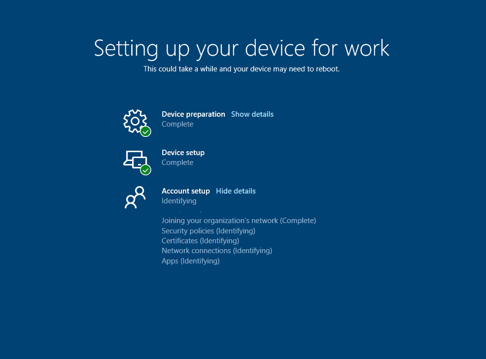 Windows Autopilot Whiteglove - User flow - ESP Account Setup