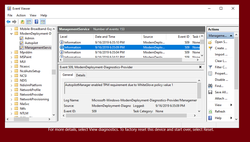 AutopilotManager enabled TPM requirement due to Window Autopilot WhiteGlove policy