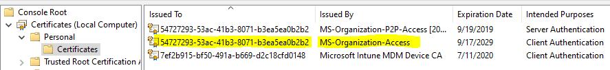 Certificate Store - Local Machine - MS-Organization-Access cert - AAD device GUID - Window Autopilot WhiteGlove