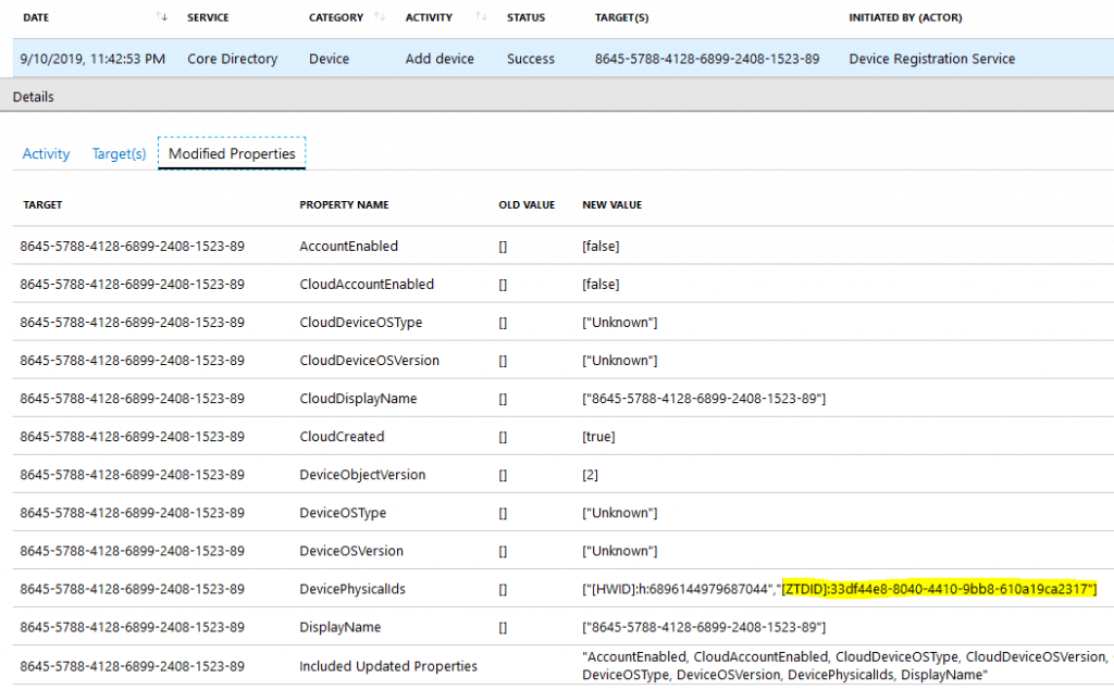 Audit log showing the Azure DRS action Add Device -  Windows Autopilot Behind the Scenes