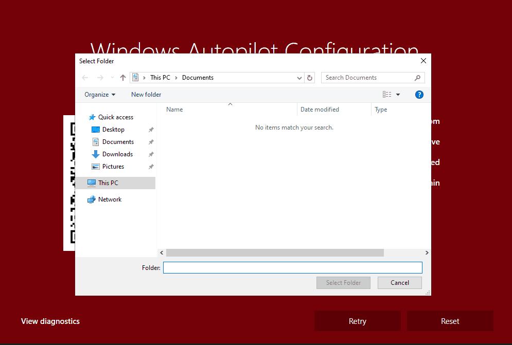 Windows Autopilot WhiteGlove - RED Screen - View Diagnostic opens File Explorer window