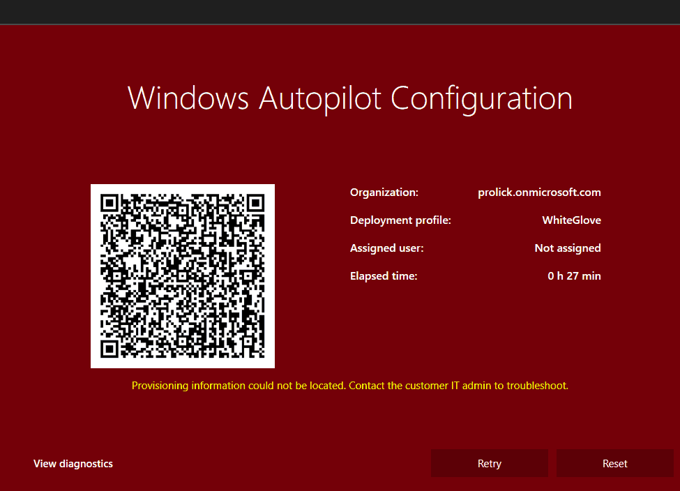 Autopilot WhiteGlove - RED Screen - Provisioning Failed - RESET/RETRY