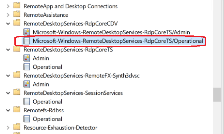 WVD Troubleshooting -  RemoteDesktopServices-RdpCoreTS/Operational