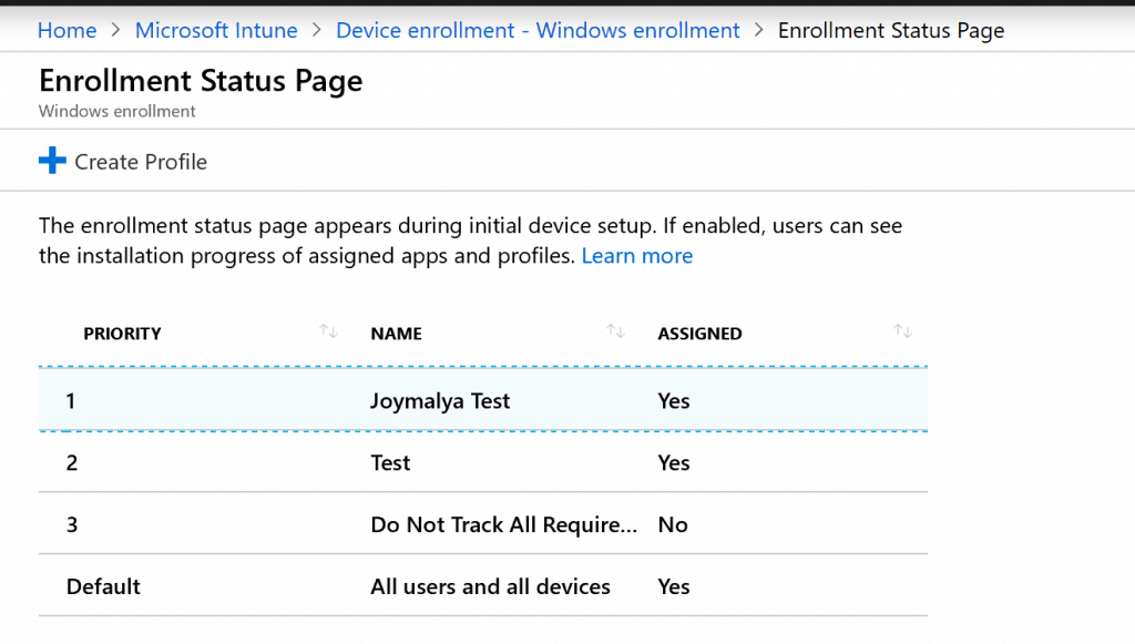 Windows Autopilot - Enrollment Status Page