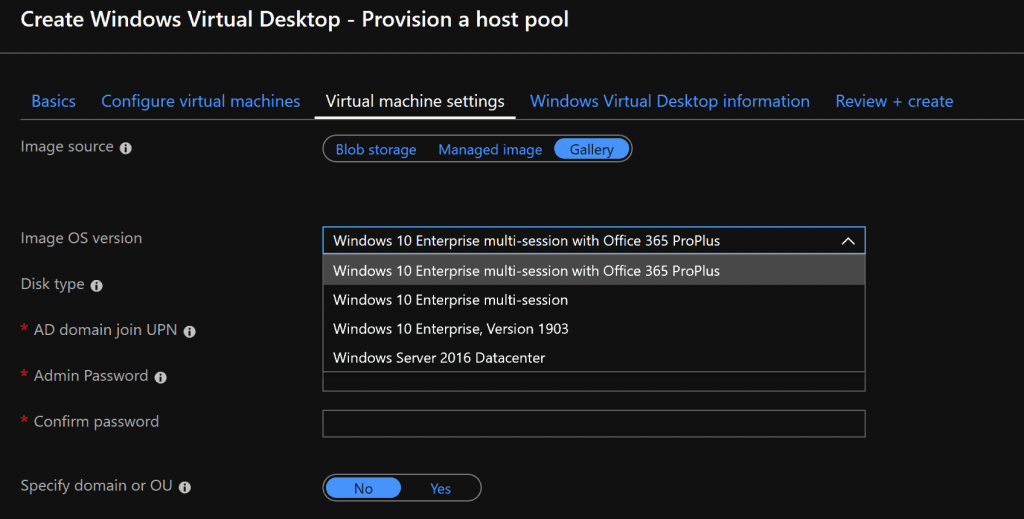 WVD Custom Image - Default Azure WVD ARM template Options - WVD Master Image