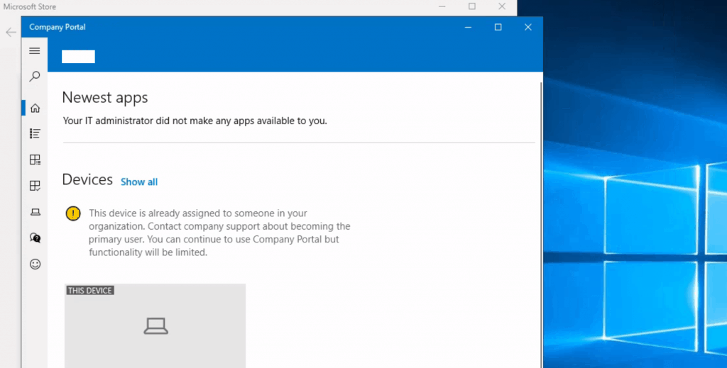 ti-Session Intune Hybrid Azure AD support  - Your IT admin didn't make any apps available to you