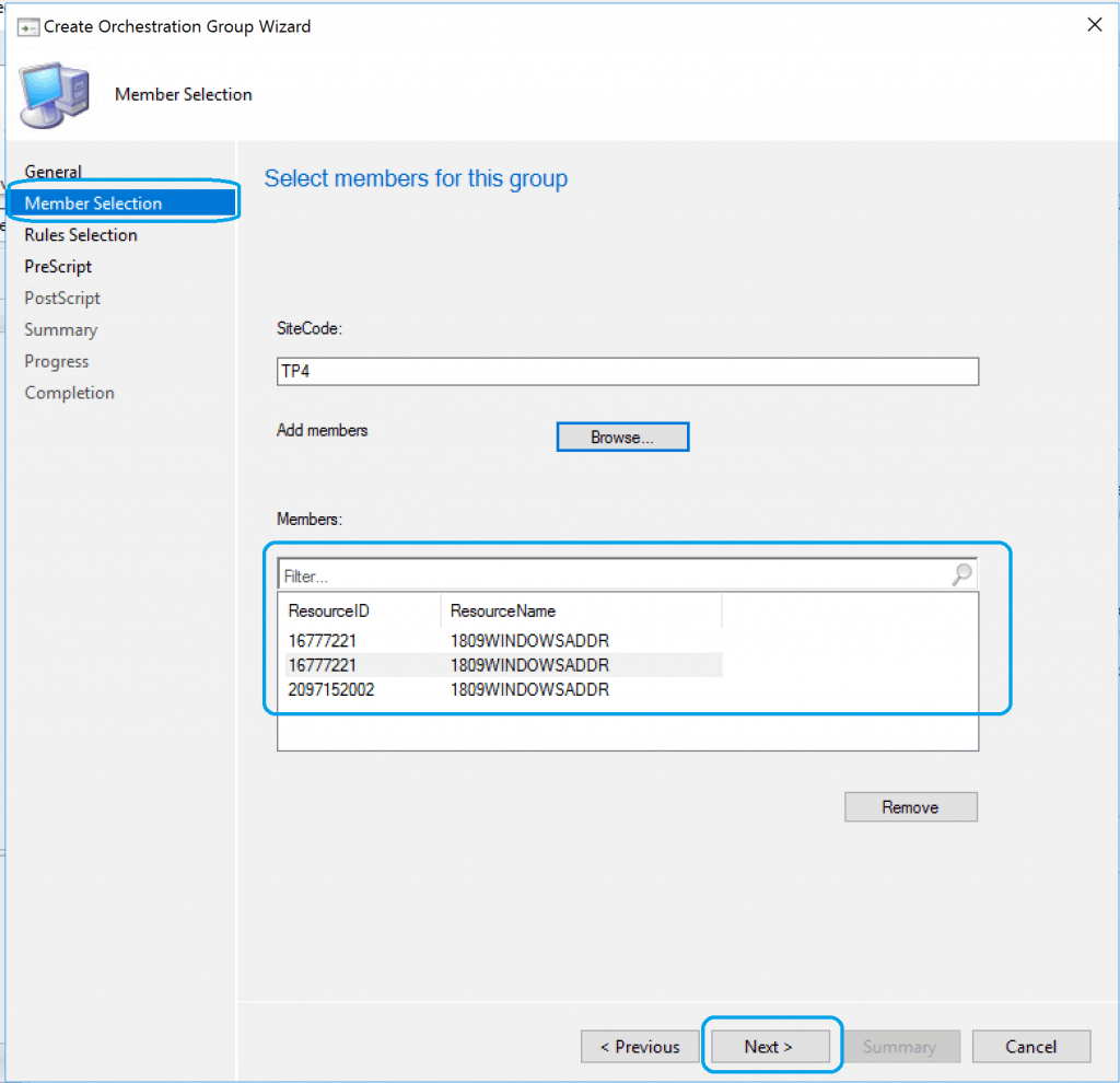 Resource selection - SCCM Orchestration Group