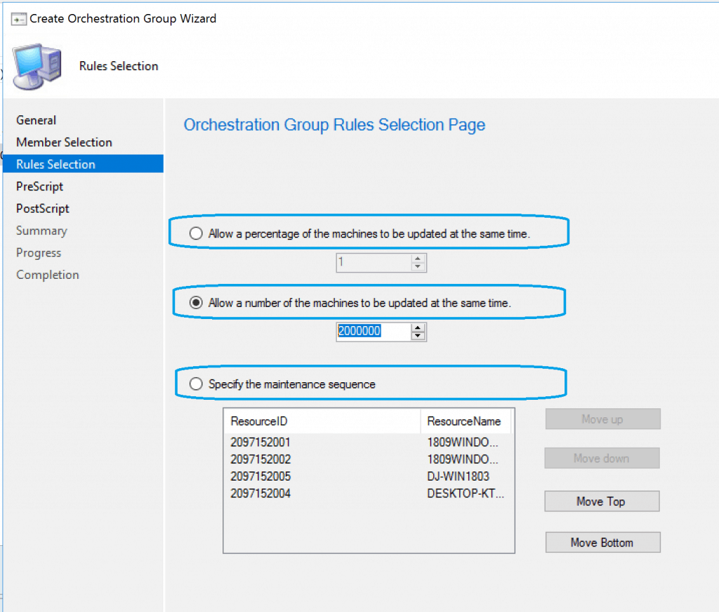 Rule Selection - SCCM Orchestration Group