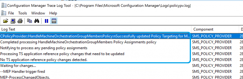 PolicyPV.log - SCCM Orchestration Group