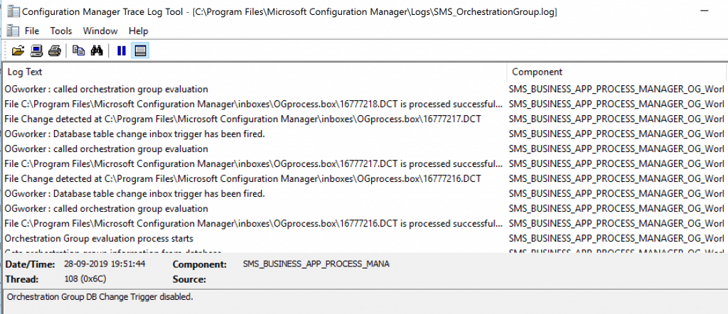SCCM Orchestration Group - SMS_OrchestrationGroup.log