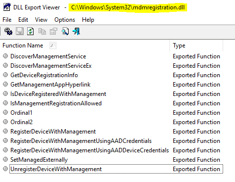 Exported Functions - mdmresgitration.dll - component behind MDM Enrollment - Window Autopilot WhiteGlove