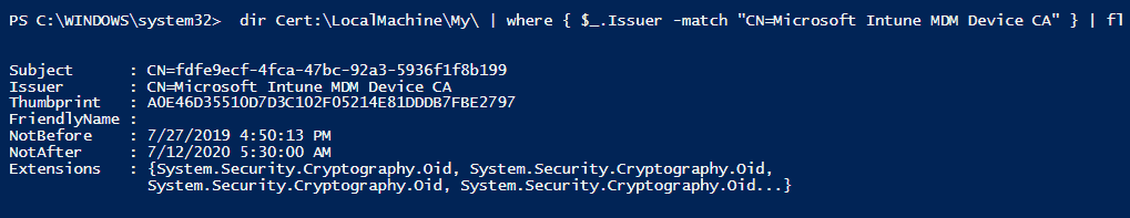 Microsoft Intune MDM Device cert - Local Machine Cert Store - Window Autopilot WhiteGlove