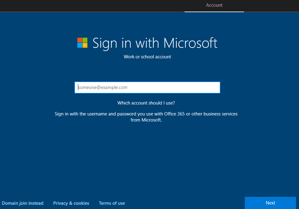 Default Sign in with Microsoft cloud join sign-in page - Window Autopilot WhiteGlove