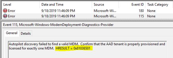 WhiteGlove Provisioning - Failure due to multiple MDM configured. HRESULT = 0x81036501 - Window Autopilot WhiteGlove