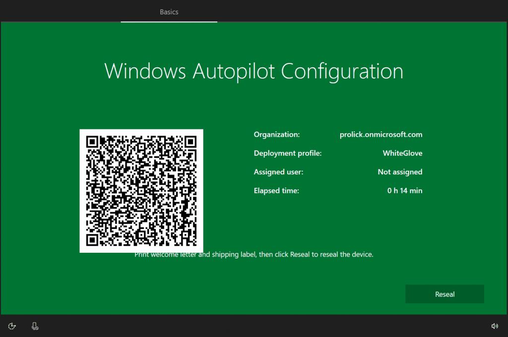 Windows Autopilot WhiteGlove - GREEN Screen showing provisioning succes - Window Autopilot WhiteGlove