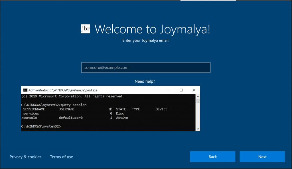 Windows Autopilot Whiteglove - User Flow - Session 1 defaultuser0