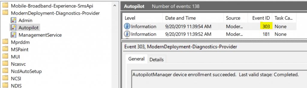 Windows Autopilot - Event ID 303 - Success