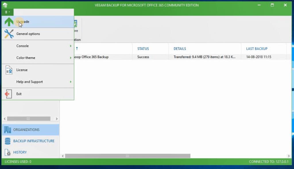 Upgrade - Veeam Backup for Office 365