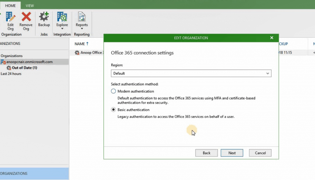 Authentication - Veeam Backup for Office 365