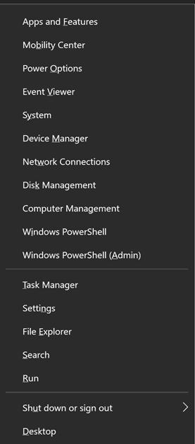 Windows Key Shortcut - Windows Key + X